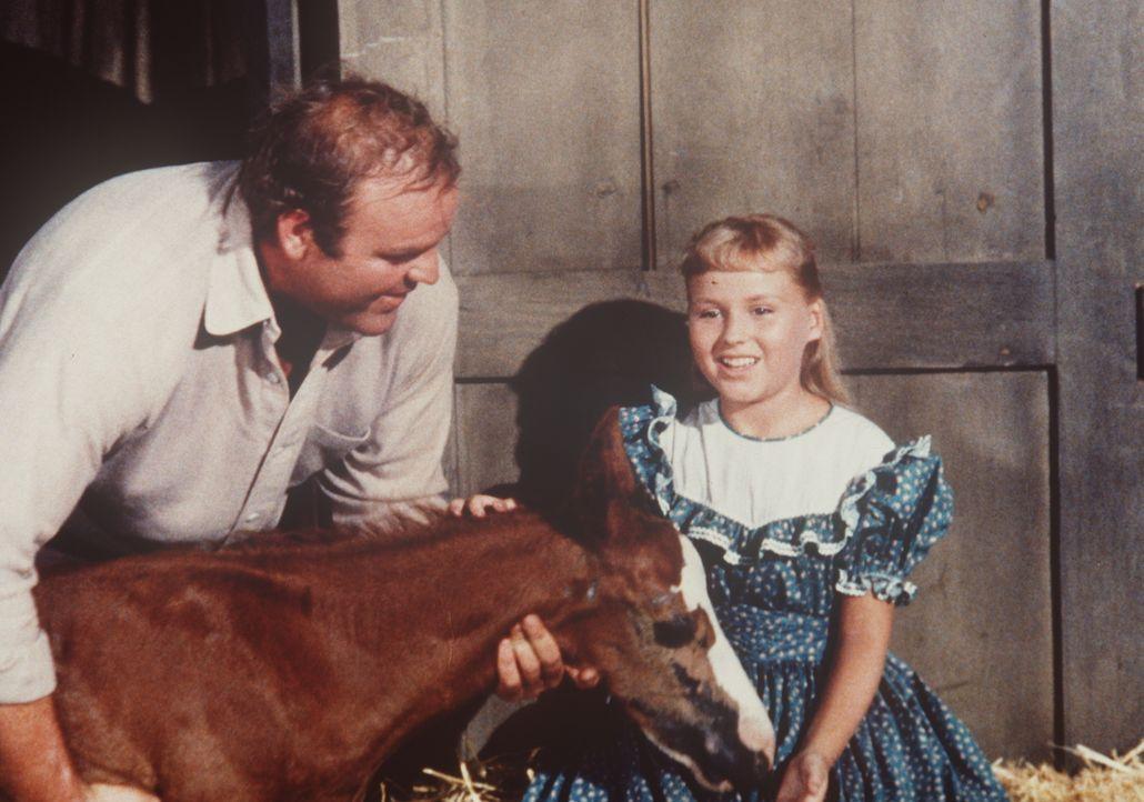 Hoss Cartwright (Dan Blocker, l.) kümmert sich um die blinde Gabrielle (Diane Mountford, r.), die ihre Eltern bei einem Unfall verloren hat. - Bildquelle: Paramount Pictures