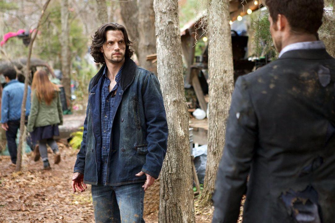 Elijah (Daniel Gillies, r.) und Jackson (Nathan Parsons, l.) ahnen nicht, wer Schuld an dem Angriff auf das Camp der Wölfe hat ... - Bildquelle: Warner Bros. Television
