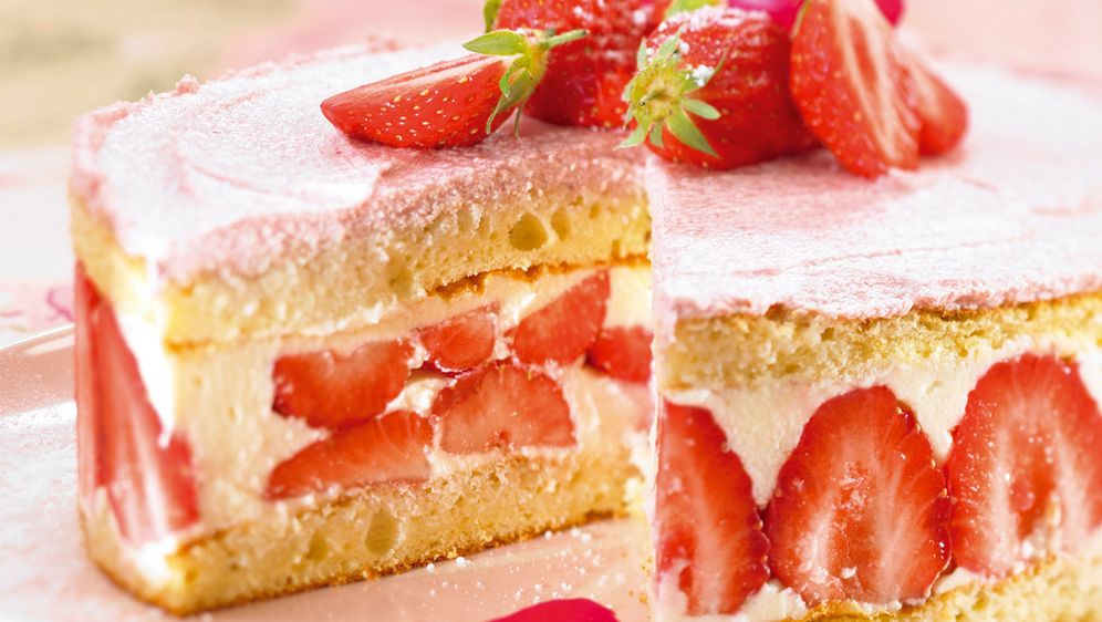 White Cake With Pink Strawberries
