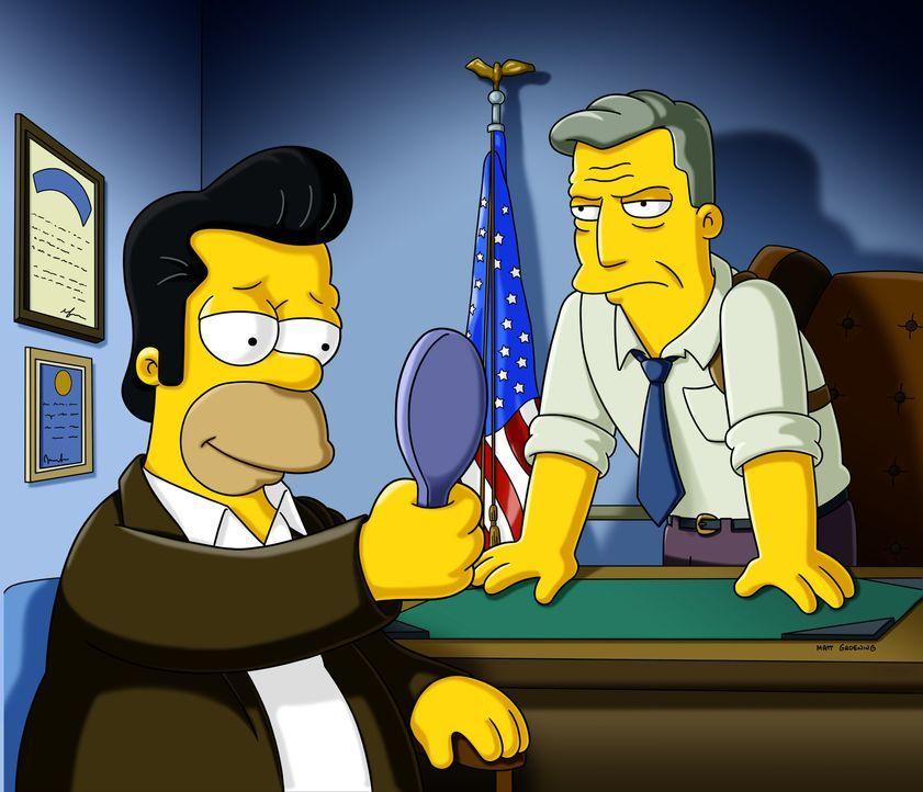 Ein FBI-Agent (r.) gibt Homer (l.) letzte Anweisungen für seinen bevorstehenden Einsatz als Undercoveragent. - Bildquelle: und TM Twentieth Century Fox Film Corporation - Alle Rechte vorbehalten