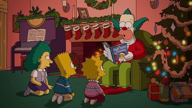 Es scheint, als würde Krusty (r.) zu Weihnachten den Kindern (v.l.n.r.) Sophi...