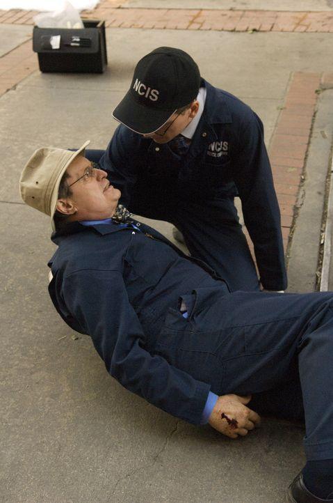 Während Ducky (David McCallum, l.) und Jimmy Palmer (Brian Dietzen, r.) an einem Tatort eine Leiche untersuchen wollen, wird Ducky von einer vermumm... - Bildquelle: CBS Television