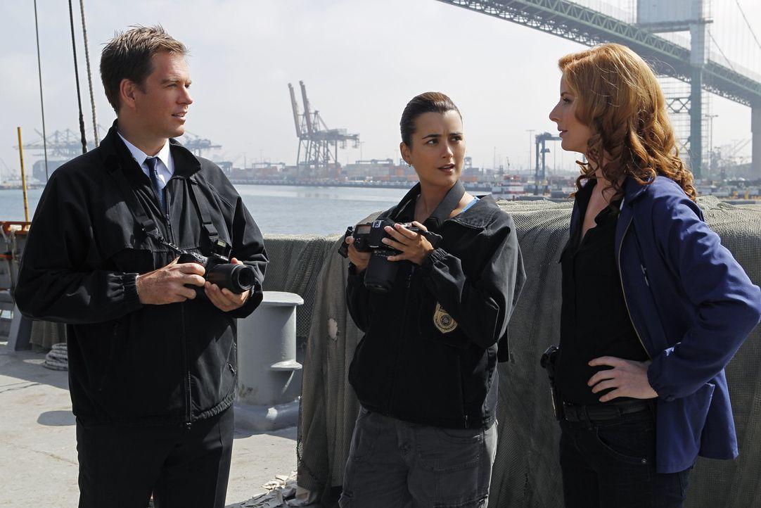 Ein Schiff ohne Passagiere und Besatzung wird von der Küstenwache in US-Gewässern aufgefunden. DiNozzo (Michael Weatherly, l.), Ziva (Cote de Pablo,... - Bildquelle: CBS Television