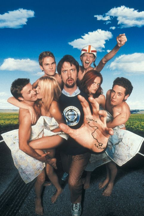 Dauerstudent Barry (Tom Green, M.) erzählt die Geschichte von Josh (Breckin Meyer, l.), Beth (Amy Smart, 2.v.l.), E.L. (Seann William Scott, 3.v.l.... - Bildquelle: TM &   DREAMWORKS L.L.C.