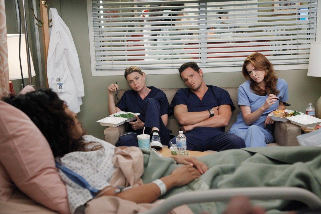 Rückblende: Nach dem schrecklichen Flugzeugabsturz machen sich Meredith (Ellen Pompeo, 2.v.l.), Alex (Justin Chambers, 2.v.r.) und April (Sarah Drew... - Bildquelle: ABC Studios