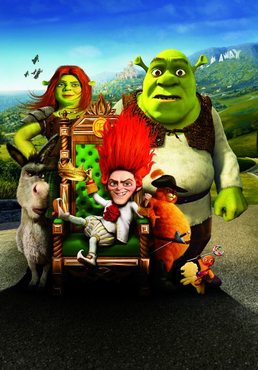 Das Rumpelstilzchen macht Shrek das Leben schwer. Er kann sich zum Glück immer auf seine Freunde Esel (l.), Fiona (2.v.l.), den gestiefelten Kater... - Bildquelle: 2012 DreamWorks Animation LLC. All Rights Reserved.