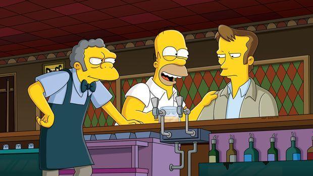 Homer (M.) versucht krampfhaft, sich mit seinem coolen neuen Kollegen, dem Si...