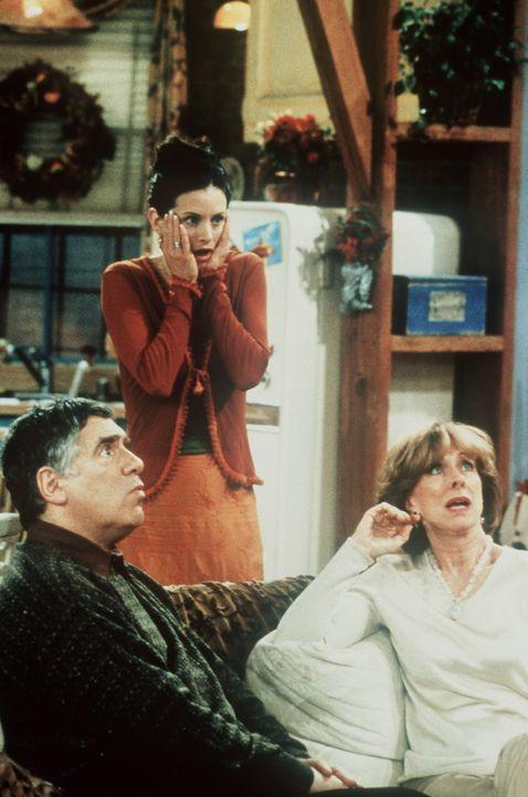 Monica (Courteney Cox, M.) kann es nicht fassen, dass Ross mit der Neuigkeit herausplatzt, die sie ihren Eltern Jack (Elliott Gould, l.) und Judy (C... - Bildquelle: TM+  2000 WARNER BROS.