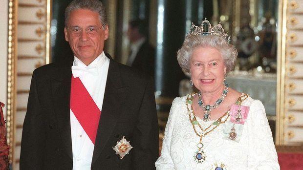 Queen Elizabeth II (r.) mit dem brasilianischen Präsidenten beim Staatsbanket...