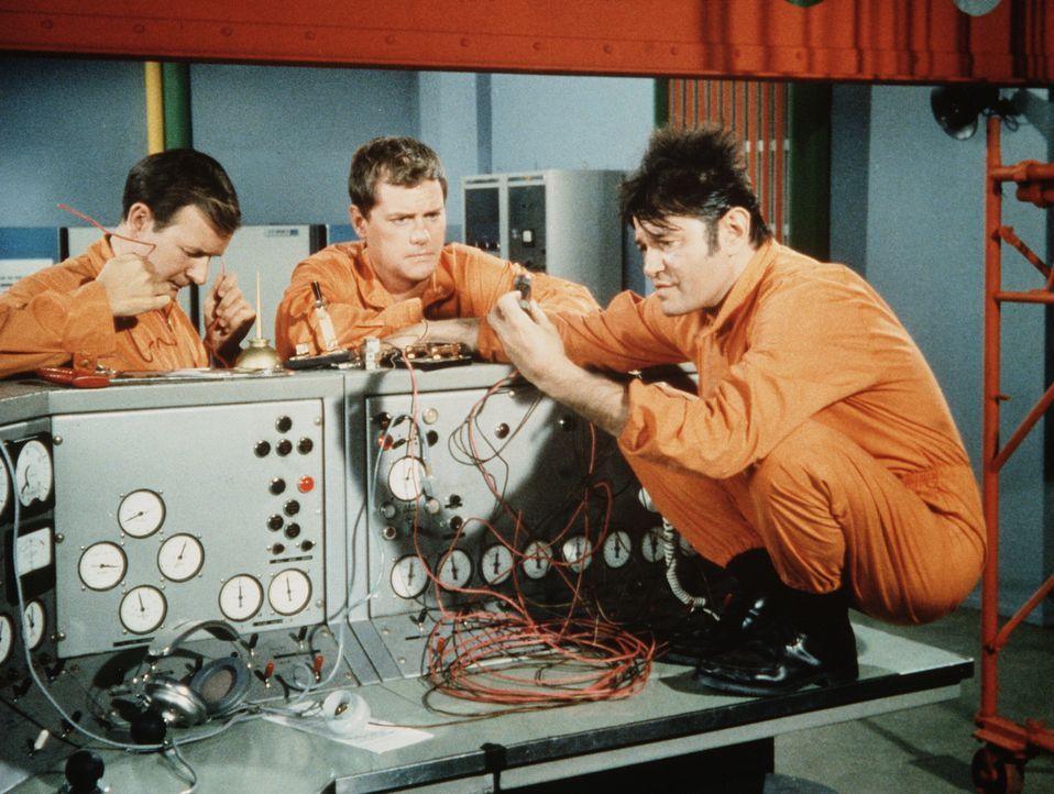 Tony (Larry Hagman, M.) und Roger (Bill Daily, l.) fragen sich, warum der Elektriker Sam (Lary Storch, r.) offensichtlich keine Ahnung von Technik h... - Bildquelle: Columbia Pictures