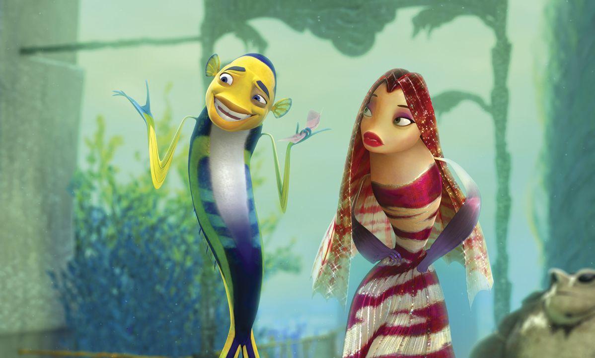 Oscar (l.) genießt die Annehmlichkeiten seines Stardaseins, inklusive der Bekanntschaft mit der attraktiven Rotfeuerfischdame Lola (r.) ... - Bildquelle: United International Pictures
