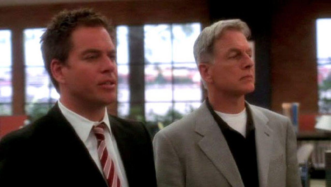"""Jethro Gibbs (Mark Harmon, r.) ignoriert seine Pflichten als stellvertretender Direktor und führt mit """"Tony"""" DiNozzo (Michael Weatherly, l.) die Un... - Bildquelle: CBS Television"""