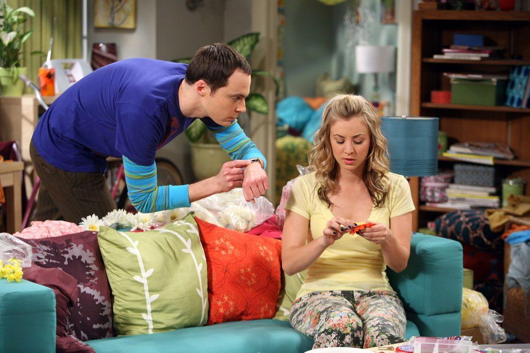Sheldon (Jim Parsons, l.) hilft Penny (Kaley Cuoco, r.), die ihr eigenes Haarspangen-Unternehmen gründen möchte. Doch das Chaos ist vorprogrammier... - Bildquelle: Warner Bros. Television