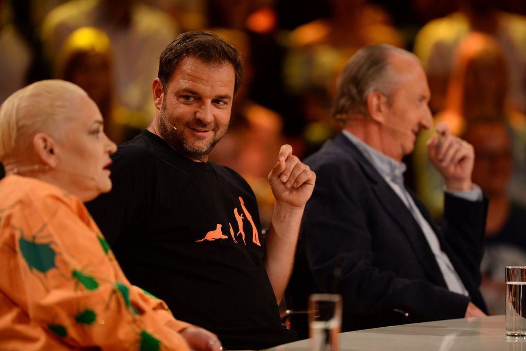 Was ist die richtige Antwort? Hella von Sinnen (l.), Martin Rütter (M.) und Mike Krüger (r.) geben ihr Bestes, um die Fragen der Zuschauer richtig z... - Bildquelle: Willi Weber SAT.1