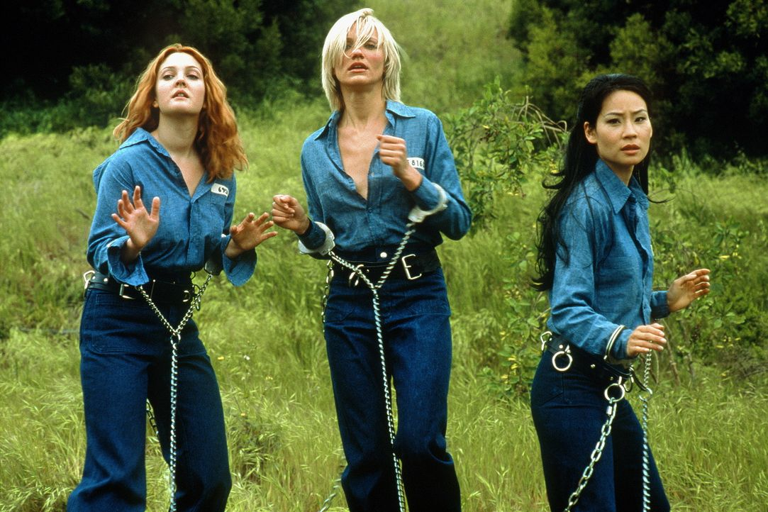 Heroisches Himmelstrio in Ketten: : Alex (Lucy Liu, r.), Natalie (Cameron Diaz, M.) und Dylan (Drew Barrymore, l.) ... - Bildquelle: Columbia Pictures