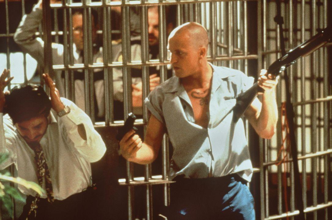 Die Hysterie der Medien und Schaulustigen ist Mickey (Woody Harrelson, r.) ein Rätsel ... - Bildquelle: Warner Bros.