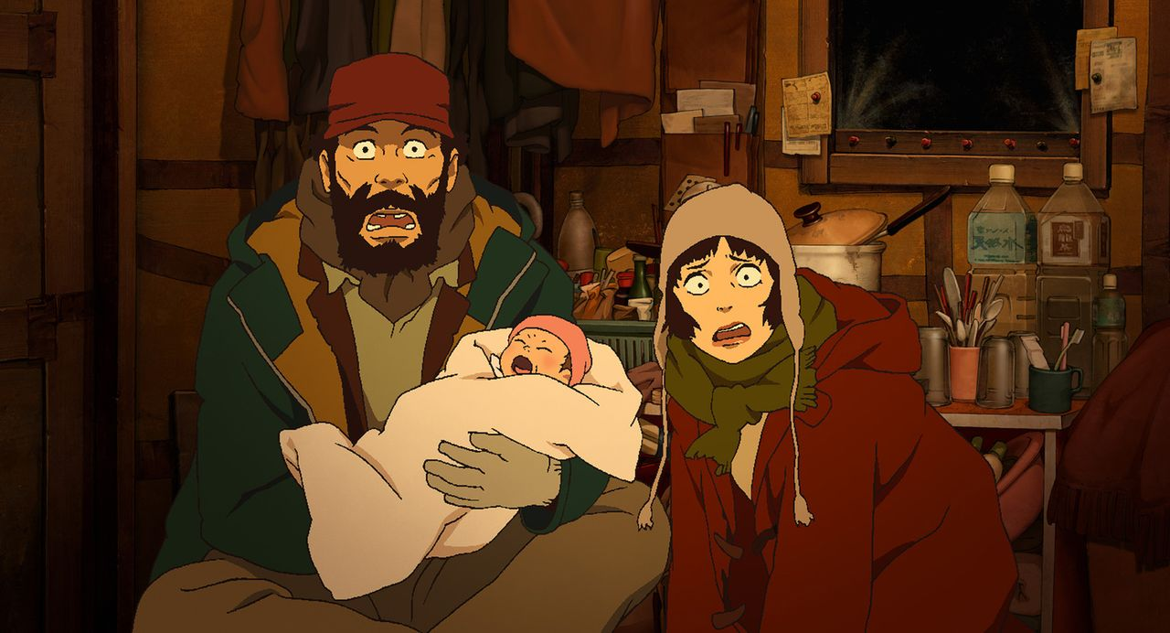 Wie stellt man ein schreiendes Baby ab? Gin (l.) und Miyuki (r.) sind zunächst völlig überfordert ... - Bildquelle: 2003 Satoshi Kon, Mad House and Tokyo Godfathers Committee. All Rights Reserved.