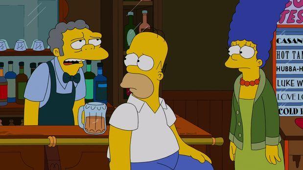Die Simpsons - Moe (l.) ist mal wieder frustriert und versucht, Selbstmord zu...