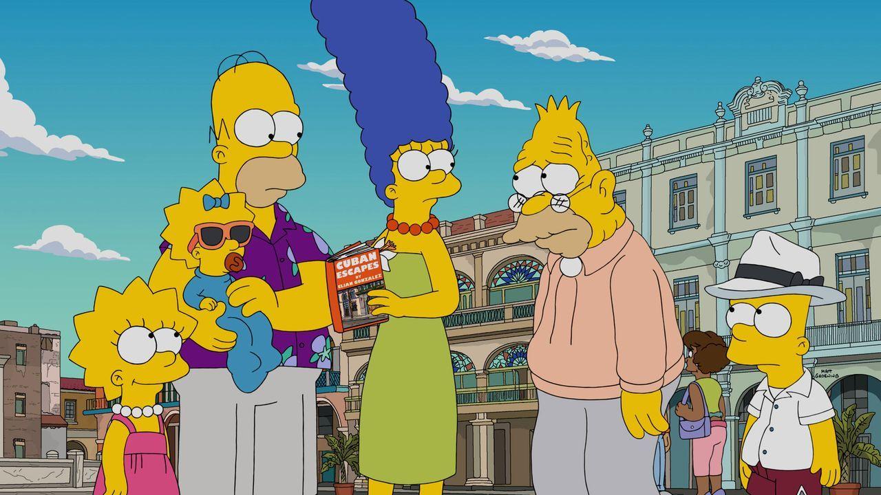 Da niemand es schafft, Grampa zu helfen und seine Schmerzen zu lindern, reisen Homer (3.v.l.), Marge (3.v.r.), Lisa (l.) Bart, (r.) und Maggie (2.v.... - Bildquelle: 2016-2017 Fox and its related entities. All rights reserved.
