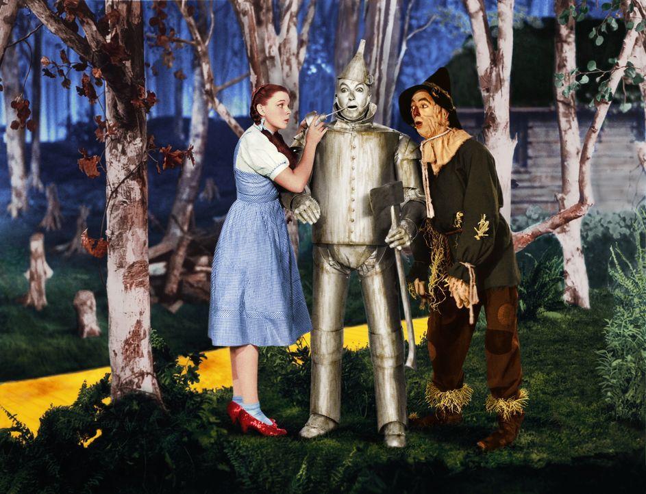 Der Zinnmann (Jack Haley, M.) hätte so gerne ein Herz unter seiner Rüstung. Dorothy (Judy Garland, l.) und die Vogelscheuche (Ray Bolger, r.) tröste... - Bildquelle: Warner Bros.