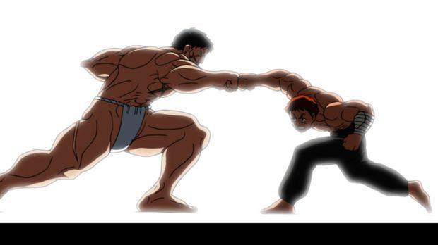 Der Kampf zwischen Baki (r.) und Hanayama (l.) kann beginnen ... © ITAKAGI KE...