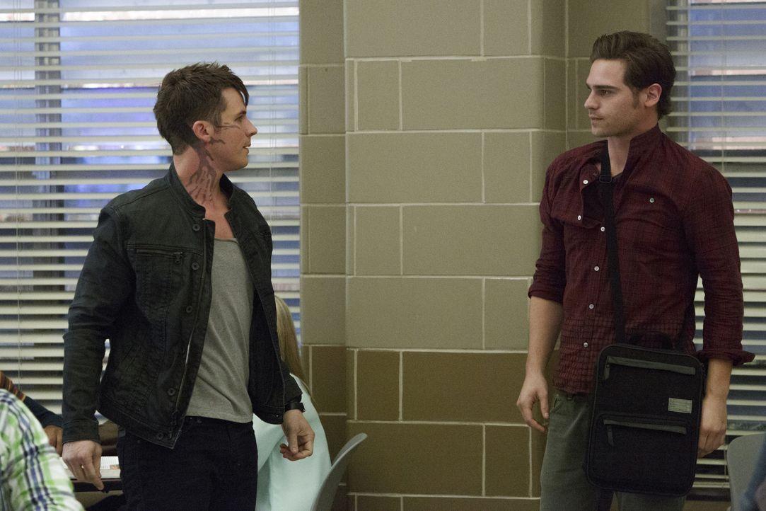 Als die Schüler der Marshall High durch einen Hurrikan in der Schule eingeschlossen werden, steigen die Spannungen zwischen Roman (Matt Lanter, l.)... - Bildquelle: 2014 The CW Network, LLC. All rights reserved.