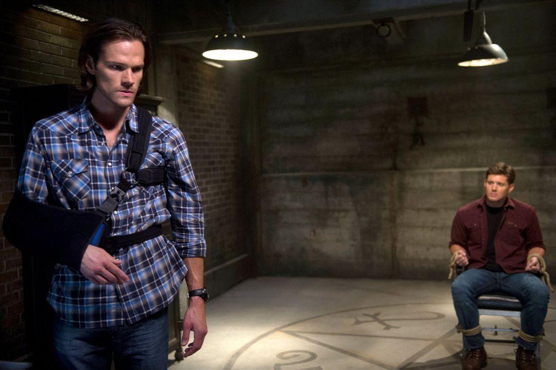 Sam (Jared Padalecki, l.) setzt alles daran, Dean (Jensen Ackles, r.) von seinen dunklen Verlangen zu befreien, doch geht der Plan wirklich auf? - Bildquelle: 2016 Warner Brothers