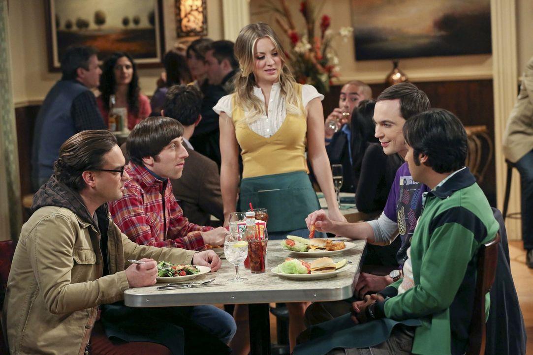 Zunächst sind Leonard (Johnny Galecki, l.), Howard (Simon Helberg, 2.v.l.), Sheldon (Jim Parsons, 2.v.r.) und Raj (Kunal Nayyar, r.) begeistert, als... - Bildquelle: Warner Brothers
