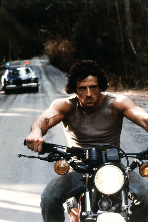 Aus fadenscheinigen Gründen verhaftet Sheriff Teasle den friedlichen Vietnamveteranen Rambo (Sylvester Stallone), einen ehemaligen Einzelkämpfer der... - Bildquelle: 1982 STUDIOCANAL. All Rights Reserved.