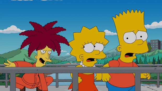 Lisa (M.) und Bart (r.) sind entsetzt, als sie bemerken, dass Tingeltangel-Bo...