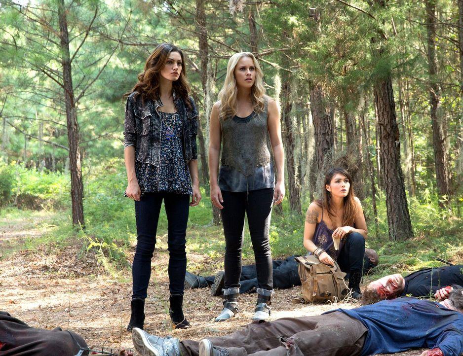 Gemeinsam begeben sich Hayley (Phoebe Tonkin, l.), Rebekah (Claire Holt, M.) und Sophie (Daniella Pineda, r.) auf eine gefährliche Mission ... - Bildquelle: Warner Bros. Television