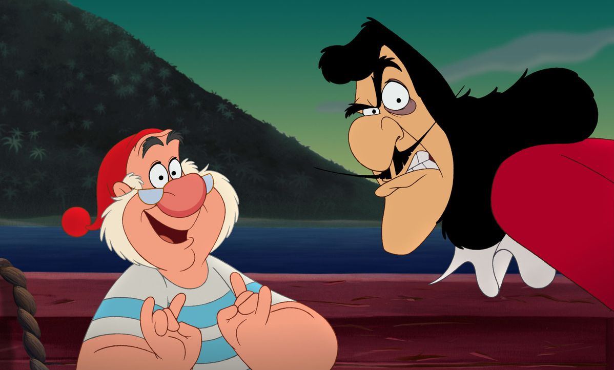 Viele Jahre sind ins Land gegangen. Da beschließt der berüchtigte Käpt'n Hook (r.) mit Hilfe seines schusseligen Maats Smeet (l.), Wendy erneut z... - Bildquelle: Disney
