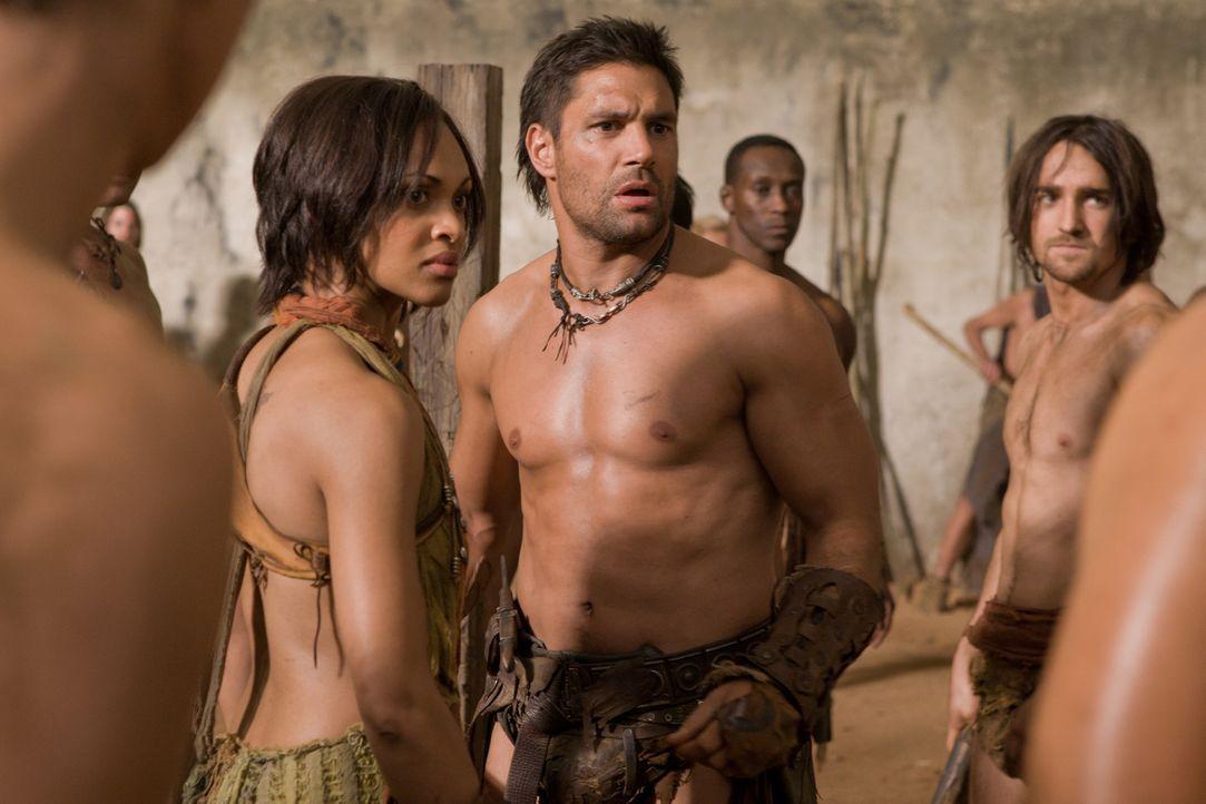 Als plötzlich Ilithyia in den zerfallenen Tempelmauern mitten im Wald auftaucht, sind nicht nur Crixus (Manu Bennett,3.v.r.) und Naevia (Cynthia-Ad... - Bildquelle: 2011 Starz Entertainment, LLC. All rights reserved.