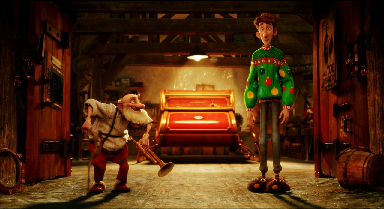 Stehen einer ganz besonderen Mission zur Rettung des Weihnachtsfestes gegenüber: Opa Weihnachtsmann (l.) und sein Enkel Arthur (r.) ... - Bildquelle: 2011 Sony Pictures Animation Inc. All Rights Reserved.