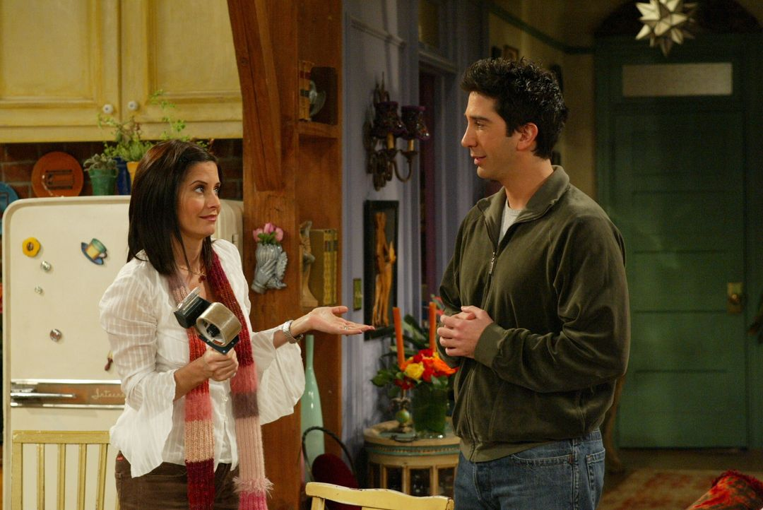 Wegen Rachels Umzug nach Paris ist Ross (David Schwimmer, r.) sehr traurig. Monica (Courteney Cox, l.) versucht ihn zu trösten ... - Bildquelle: Warner Bros. Television
