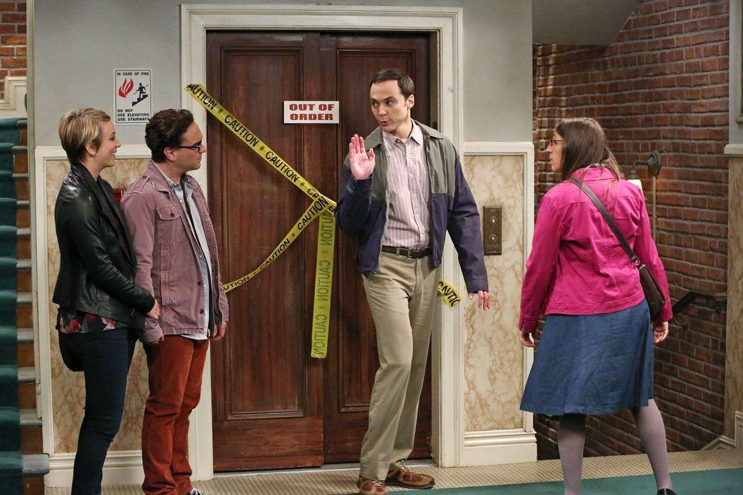 Sheldon (Jim Parsons, 2.v.r.) und Amy (Mayim Bialik, r.) holen die Date-Nights nach, die während Sheldons Zugreise ausgefallen sind, da sie vertragl... - Bildquelle: Warner Brothers