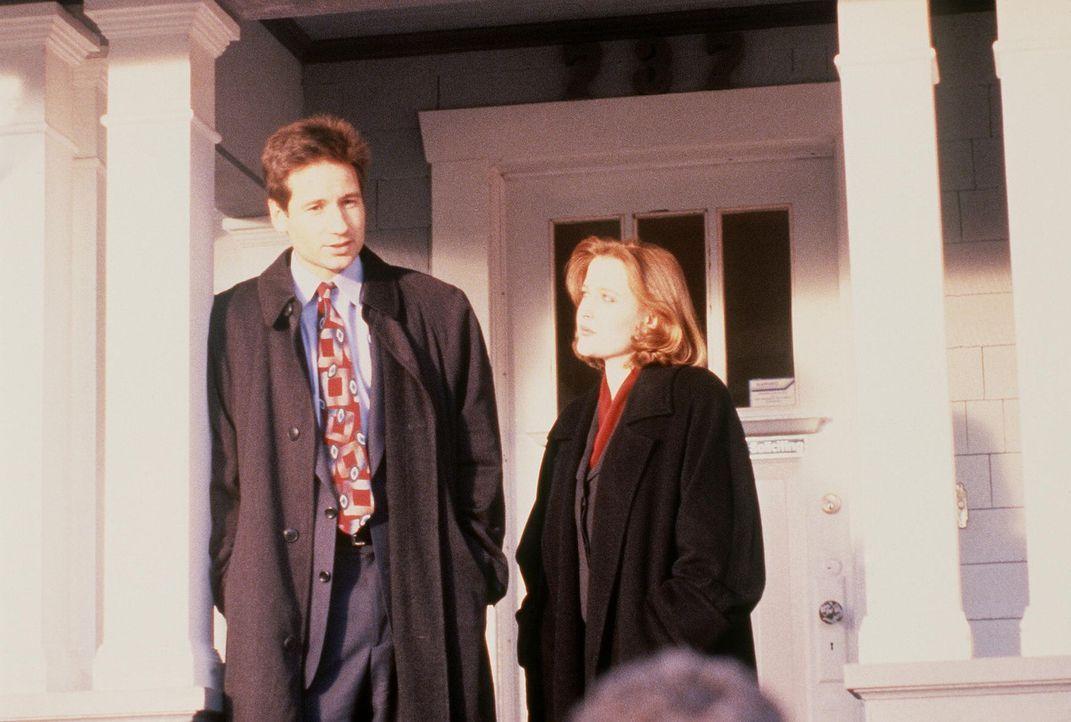 Mulder (David Duchovny, l.) und Scully (Gillian Anderson, r.) untersuchen eine Mordserie, bei der drei identisch aussehende Ärzte in verschiedenen O... - Bildquelle: TM +   Twentieth Century Fox Film Corporation. All Rights Reserved.
