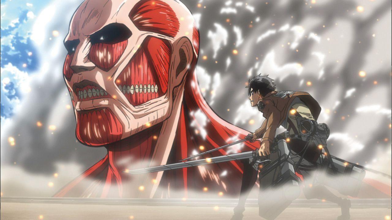 """Vor hundert Jahren wurde ein großer Teil der Menschheit von riesigen Monstern getötet und deren Welt zerstört. Nur ein paar Menschen konnten sich re... - Bildquelle: Hajime Isayama,Kodansha/""""ATTACK ON TITAN""""Production Comittee All Rights Reserved."""