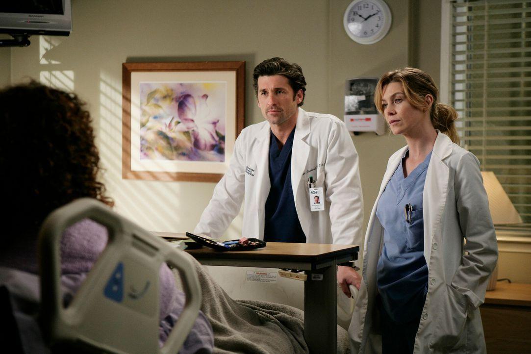 Eine Patientin (Regina Taylor, l.), die an der Studie von  Meredith (Ellen Pompeo, r.) und Derek (Patrick Dempsey, M.) teilnimmt, erwartet die beide... - Bildquelle: Touchstone Television