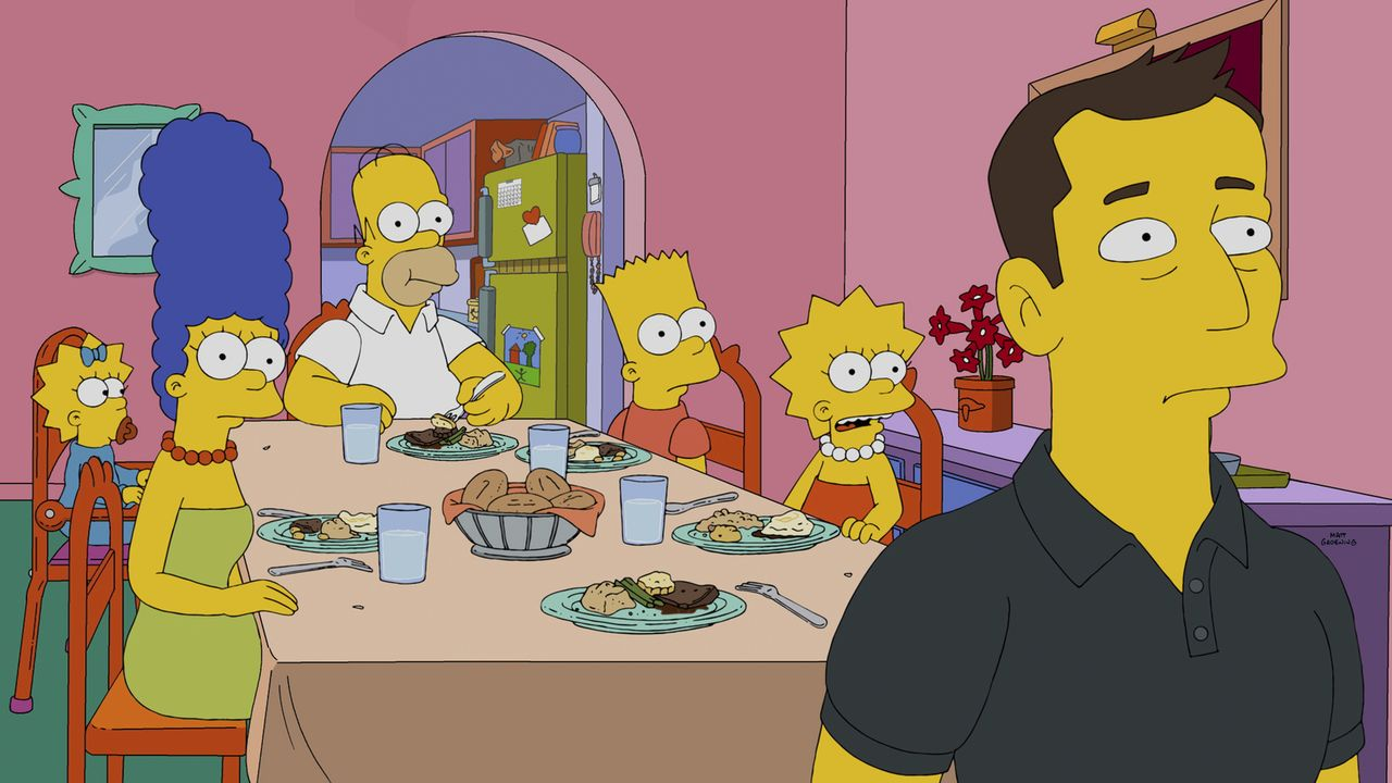 Ist Elon Mosk (r.) wirklich so nobel, wie die Simpsons (v.l.n.r. Maggie, Marge, Homer, Bart und Lisa) denken? - Bildquelle: 2014 Twentieth Century Fox Film Corporation. All rights reserved.