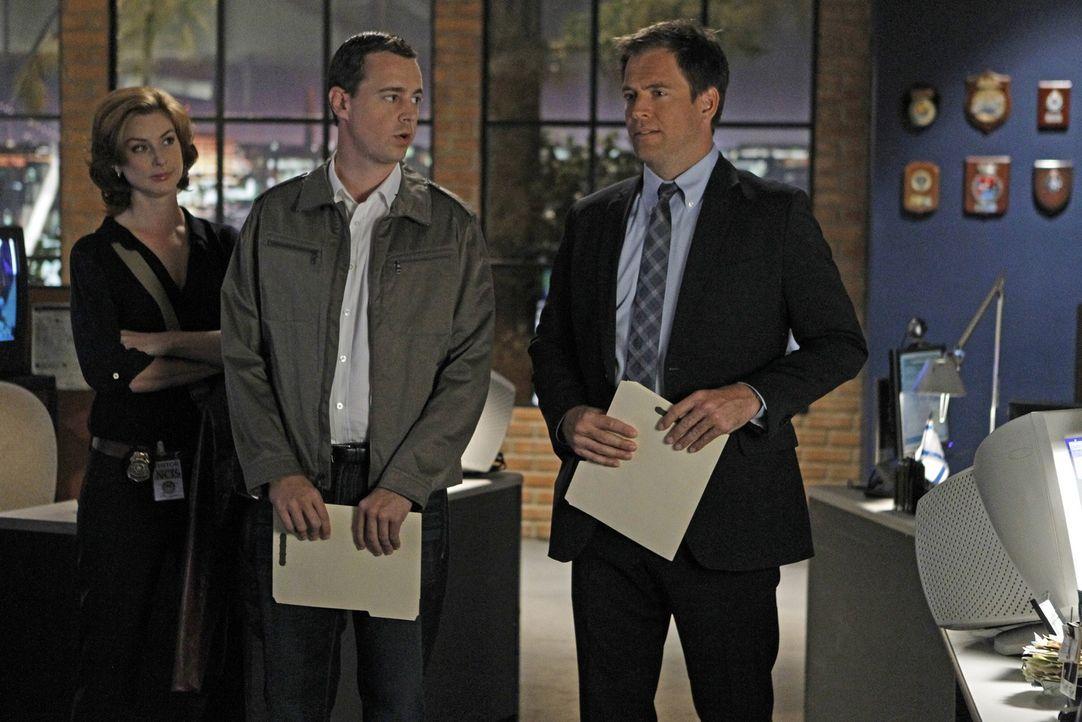 Müssen eine neuen Fall aufdecken: Agent Abigail Borin (Diane Neal, l.), Tony (Michael Weatherly, r.) und McGee (Sean Murray, M.) ... - Bildquelle: CBS Television