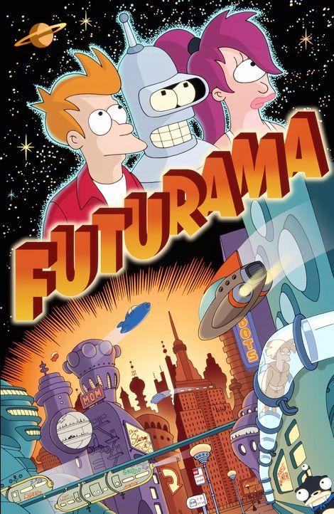 (4. Staffel) - Fry (l.) erkundet mit seinen Freunden Leela (r.) und Roboter Bender (M.) die unendlichen Weiten des Universums. - Bildquelle: und TM Twenthieth Century Fox Film Corporation - Alle Rechte vorbehalten