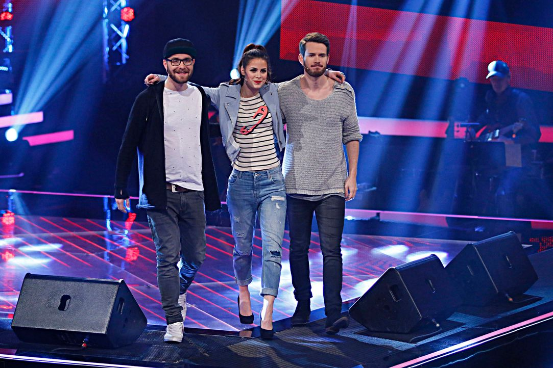 "Suchen in den ""Blind Auditions"" nach neuen Talents: Mark Forster (l.), Lena Meyer-Landrut (M.) und Johannes Strate (r.) ... - Bildquelle: Richard Hübner SAT.1"