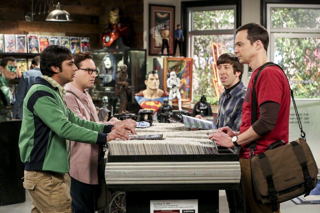Als Raj (Kunal Nayyar, l.), Leonard (Johnny Galecki, 2.v.l.) und Howard (Simon Helberg, 2.v.r.) ihre Bitcoins zu Geld machen wollen, macht Sheldon (... - Bildquelle: Warner Bros. Television