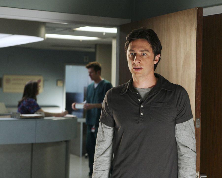Weil er ihre Liebe nicht erwidern kann, wirft Kim J.D. (Zach Braff) kurzerhand aus dem Zimmer ... - Bildquelle: Touchstone Television