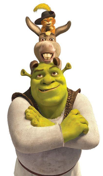 Freunde fürs Leben: Shrek (unten), Esel (M.) und der gestiefelte Kater (oben) - Bildquelle: 2012 DreamWorks Animation LLC. All Rights Reserved.