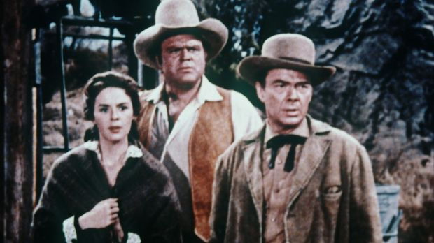 Helen (Mala Powers, l.), Hoss Cartwright (Dan Blocker, M.) und Ingenieur Deid...