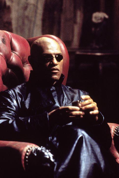 Neo trifft den mysteriösen Morpheus (Laurence Fishburne), der ihn vor eine Wahl stellt. Er kann alles, was er bisher gesehen hat, vergessen und zur... - Bildquelle: Warner Bros. Pictures