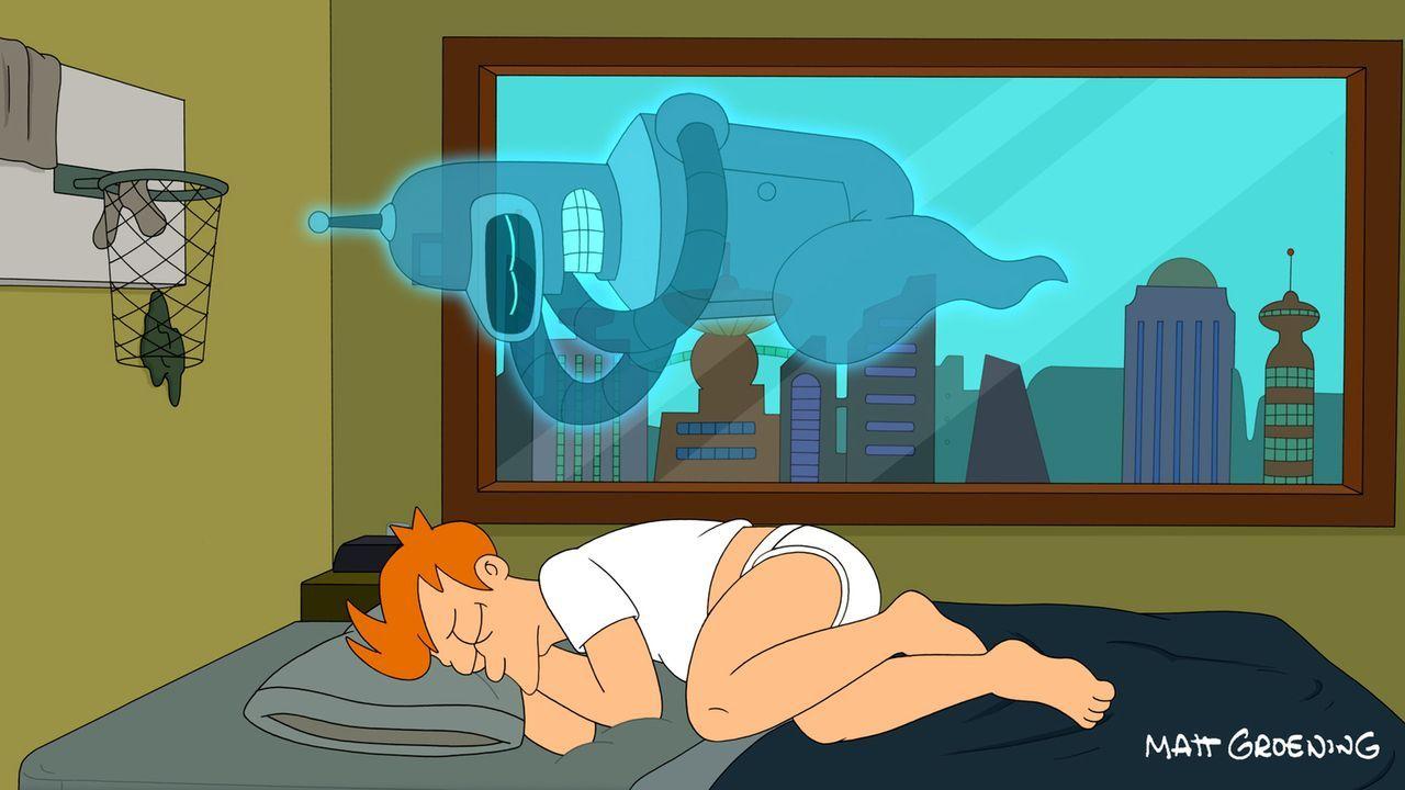 Bender versucht als Geist mit allen Mitteln, Fry durch einen Schock zu Tode zu bringen, was ihm auch fast  gelingt. - Bildquelle: 2011 Twentieth Century Fox Film Corporation. All rights reserved.
