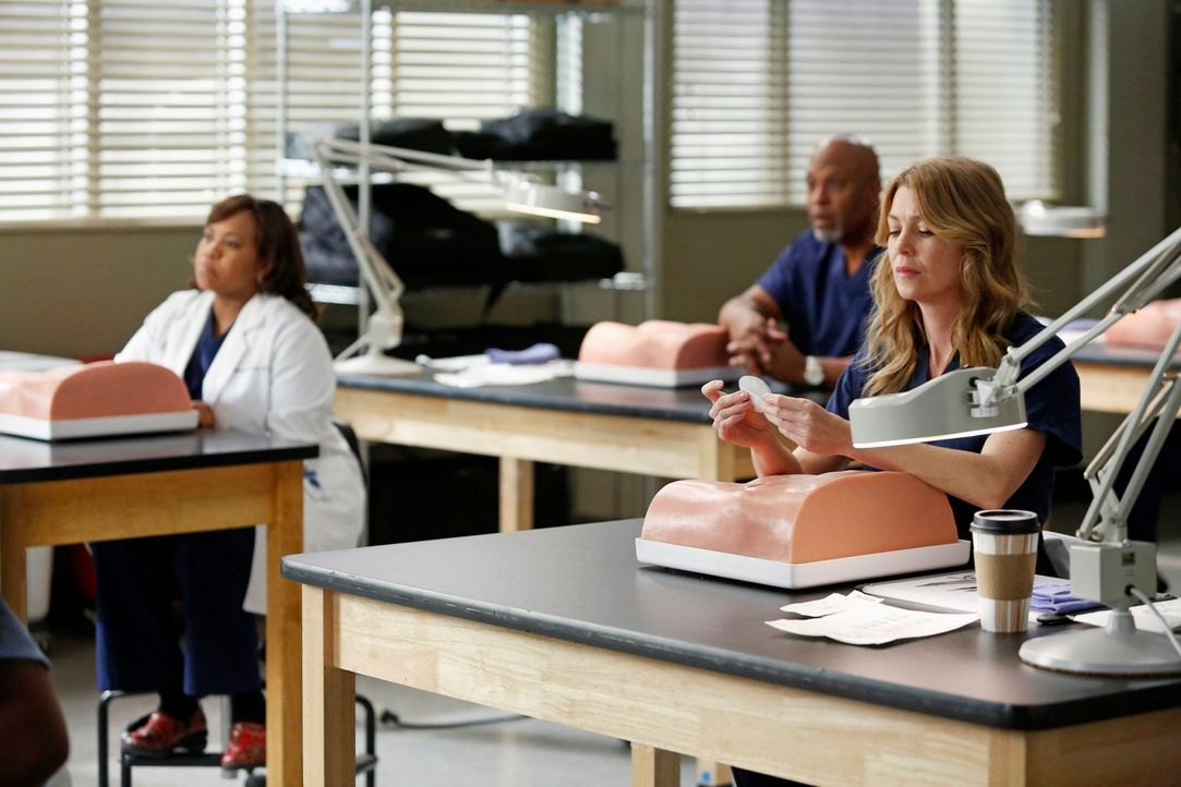Üben an einer neuen, einheitlichen Methode für einen Leistenbruch: Meredith (Ellen Pompeo, r.), Bailey (Chandra Wilson, l.) und Richard (James Picke... - Bildquelle: ABC Studios